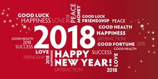 Helgdagsafton 2018 för ` s för nytt år - beträffande års` s Eve2018 för lyckligt nytt år 2018New royaltyfri illustrationer