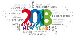 Helgdagsafton 2018 för ` s för nytt år - lyckligt nytt år 2018 Arkivbild