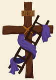 Helgedomkors med en stege och tyg för avlagring av Kristus, vektorillustration royaltyfri illustrationer