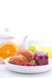 Helgfrukost: giffel, frukt och apelsin Arkivbilder