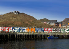 Helgoland fishermen's wharf. Traditional harbor houses at the fishermen's wharf of Helgoland island in North Sea (Germany Royalty Free Stock Images