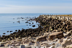 Helgoland sea breakwater, wavebreaker Royalty Free Stock Photos