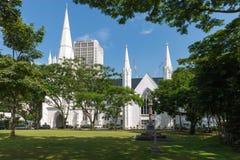 Helgon Andrews Cathedral en anglicandomkyrka i Singapore Royaltyfria Bilder