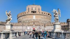 Helgon Angel Castle och bro över den Tiber floden i Rome Royaltyfria Foton