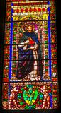 Helgon Anthony Stained Glass Santa Maria Novella Church Florence Italy arkivbilder