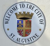 Helgon Augustine Florida Welcome Sign arkivfoto