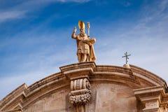 Helgon Blaise Church Detail i Dubrovnik, Dalmatia fotografering för bildbyråer