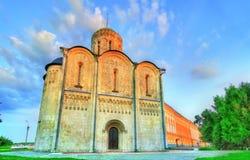 Helgon Demetrius Cathedral i Vladimir Byggt i det 12th århundradet, är det en UNESCOvärldsarv i Ryssland Arkivfoto