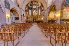 Helgon Etienne Catholic i Cahors, Frankrike arkivbild
