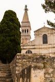 Helgon Euphemia Church i staden av Rovinj, Kroatien arkivbilder