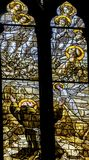 Helgon Francis Stained Glass Altar Santa Maria Frari Church Venice Italy Royaltyfri Foto