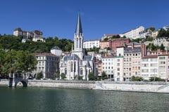 Helgon Georges Church Lyon France Arkivbilder