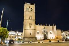Helgon John Baptist Cathedral på natten, Badajoz, Spanien Fotografering för Bildbyråer