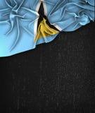 Helgon Lucia Flag Vintage på en svart tavla för Grungesvart Royaltyfri Bild