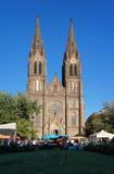 Helgon Ludmila Church på den Namesti Miru fyrkanten, Prague, Tjeckien Arkivbild
