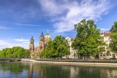 Helgon Lukas Church Munich Germany royaltyfri bild