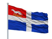 Helgon Malo City Flag On Flagpole, Frankrike som isoleras på vit bakgrund Vektor Illustrationer