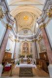 Helgon Mary Collegiate Church, Anguillara Sabazia, Rome landskap, Lazio Italien Arkivfoto