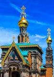 Helgon Mary Magdalene - rysk ortodox kyrka - i Darmstadt, Hessen, Tyskland royaltyfri bild