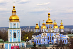 Helgon Michael Cathedral Spires Tower Kiev Ukraina royaltyfri fotografi