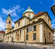 Helgon Nicholas Cathedral av Ljubljana, Slovenien Royaltyfria Foton