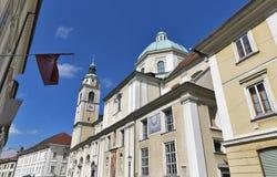 Helgon Nicholas Cathedral av Ljubljana, Slovenien Arkivfoton