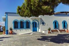 Helgon Nicholas Monastery som lokaliseras på två öar i Porto Lagos nära stad av Xanthi, Grekland fotografering för bildbyråer