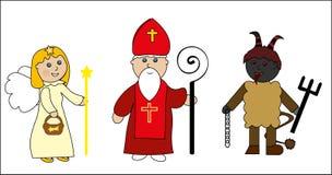 Helgon nicolas med ängel och jäkel vektor illustrationer