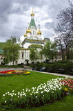 Helgon Nikolas Russian Church i Sofia Bulgaria Arkivbilder