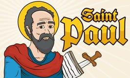 Helgon Paul Portrait med handstilar i papper och svärdet, vektorillustration vektor illustrationer