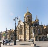 HELGON PETERBURG/RUSSIA-09 DESEMBER 2018: Kyrkan av frälsaren på Spilled blod, en av de huvudsakliga sikten av St Fotografering för Bildbyråer