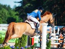 HELGON PETERSBURG-JULY 06: Rider Valeriya Sokolova på Sir Stanwel Arkivbild