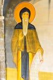 Helgon Simeon i den vägg- målningen i templet i kloster Rezevici i Montenegro Arkivbilder
