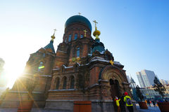 Helgon Sophia Cathedral i Harbin royaltyfri foto