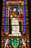 Helgon Thomas Aquinas Stained Glass Santa Maria Novella Florence Italy royaltyfri bild