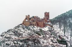 Helgon Ulrich Castle i de Vosges bergen nära Ribeauville alsace france Arkivbild