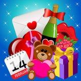 Helgon Valentine Icons Background Royaltyfri Fotografi