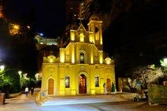 Helgonet ägnar kapellet i natten, Monaco Monte - carlo royaltyfria bilder