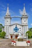 Helgonet Anna Nong Saeng Catholic Church, den religiösa gränsmärket av Nakhon Phanom byggde i 1926 av katolska präster Royaltyfria Foton