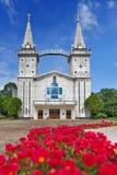 Helgonet Anna Nong Saeng Catholic Church, den religiösa gränsmärket av Nakhon Phanom byggde i 1926 av katolska präster Arkivfoton