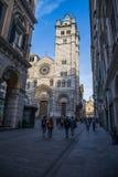 HelgonLawrence domkyrka, Cattedrale di San Lorenzo Genoa, Italien arkivfoto