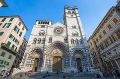 HelgonLawrence domkyrka, Cattedrale di San Lorenzo Genoa, Italien royaltyfri fotografi