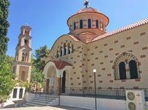 HelgonNectarius kyrka nära Archipolis, Rhodes, Grekland Royaltyfri Foto