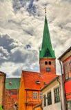 HelgonOlaf domkyrka i den gamla staden av Helsingor - Danmark Royaltyfria Foton