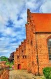 HelgonOlaf domkyrka i den gamla staden av Helsingor - Danmark Fotografering för Bildbyråer