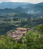 HelgonScolastica kloster, Subiaco arkivfoton