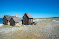 Helgumannens fishing village. On Faro island, Sweden in the Baltic sea Stock Images