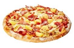 Helhet isolerad italiensk hawaiansk pizza Royaltyfri Foto