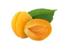 Helhet och halv aprikos med bladet som isoleras på vit bakgrund Arkivfoto