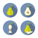 Helhet och klippta päron Plan symbol Royaltyfri Bild